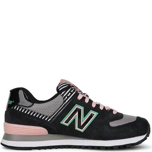 Кроссовки New Balance женские 574 черные с розовым, фото
