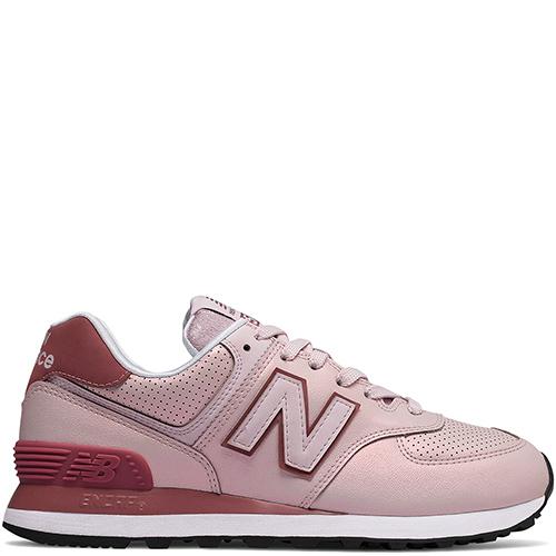 Розовые кроссовки New Balance 574 с бордовыми вставками, фото