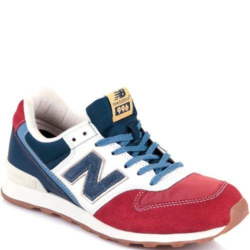 Женские кроссовки New Balance 996 в сочетании красного, синего и белого цветов, фото