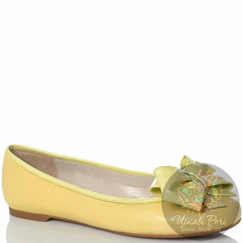 Балетки Emporio Armani мягкие кожаные пастельно-желтые с лаковым бантом, фото