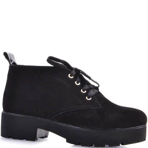 Ботинки Prego замшевые черного цвета на шнуровке с толстым каблуком, фото