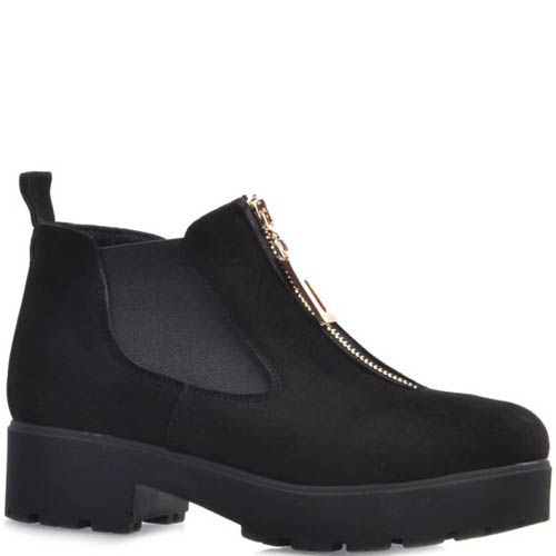 Ботинки Prego замшевые черного цвета с толстым каблуком и золотистой молнией, фото
