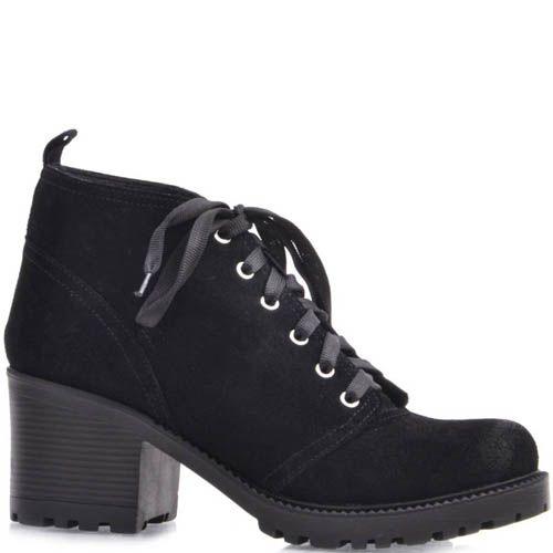 Ботинки Prego черного цвета из замши со шнуровкой и на толстом каблуке, фото