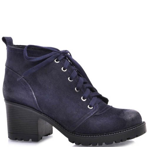 Ботинки Prego синего цвета из замши со шнуровкой и на устойчивом каблуке, фото