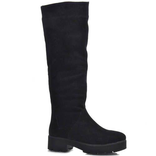 Зимние сапоги Prego замшевые черного цвета на широком каблуке, фото