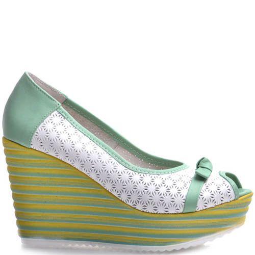 Туфли Prego на платформе с перфорацией и открытым носочком, фото