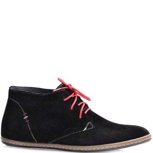 Дезерты Grado женские замшевые черного цвета с красными шнурками, фото