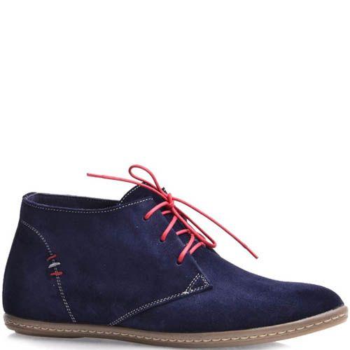 Дезерты Grado женские замшевые синего цвета с красными шнурками, фото