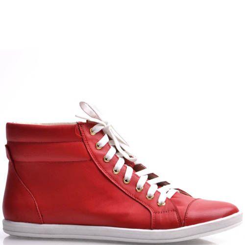 Высокие кеды Grado женские кожаные красного цвета, фото