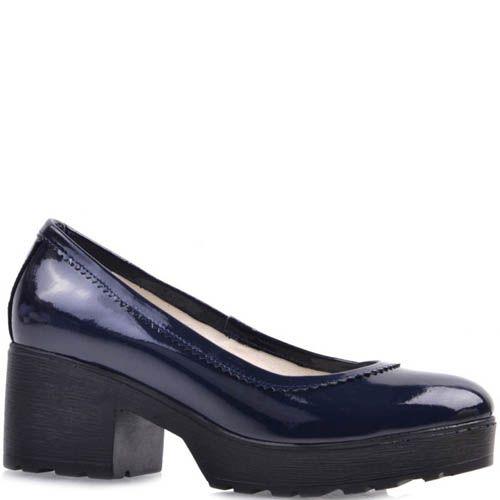 Туфли Prego синего цвета лаковые на толстом каблуке с рельефной подошвой, фото