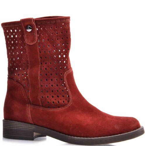 Ботинки Grado женские красного цвета с высоким перфорированным голенищем, фото