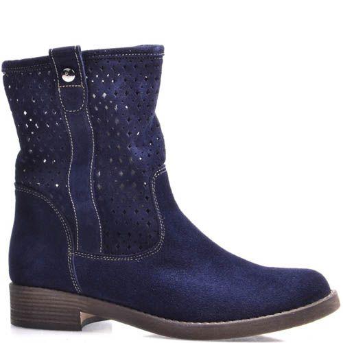 Ботинки Grado женские синего цвета с высоким перфорированным голенищем, фото