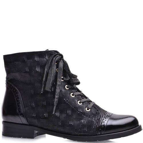 Ботинки Grado женские черного цвета с носком и пяткой из лаковой кожи, фото