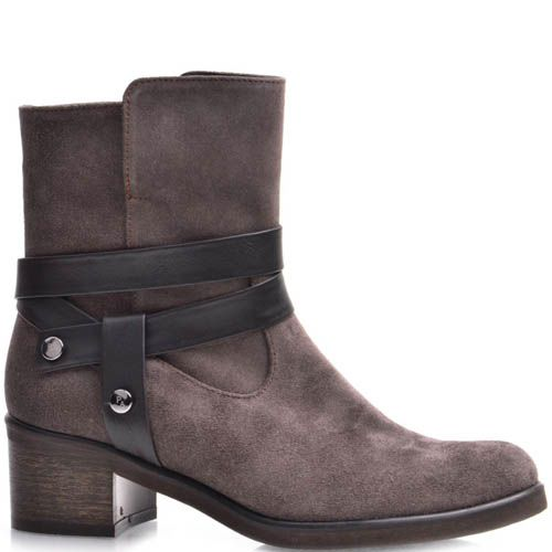 Ботинки Grado женские замшевые кофейного цвета с кожаным ремешком, фото