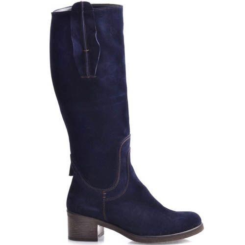 Сапоги Grado замшевые синего цвета с круглым носком, фото