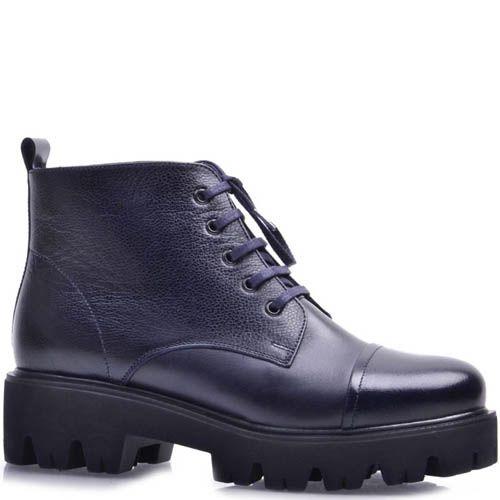 Ботинки Prego зимние на меху синего цвета на шнуровке и рельефной подошве, фото