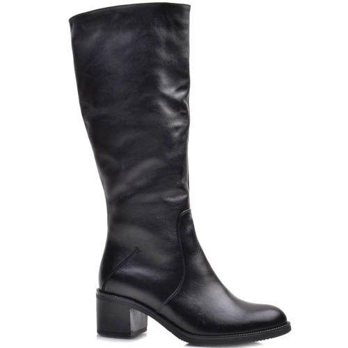 Сапоги Prego зимние кожаные черного цвета минималистичные с каблуком высотой 5 см, фото
