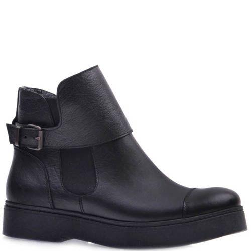 Ботинки Prego черного цвета из матовой кожи с ремешком, фото