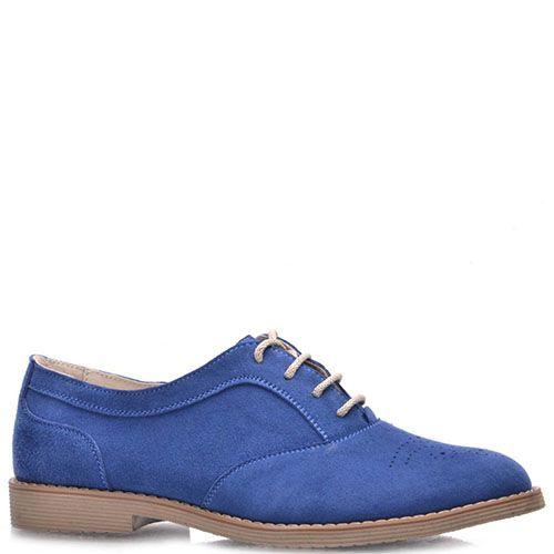 Туфли-оксфорды Prego из натуральной замши насыщено-синего цвета с коричневой подошвой, фото