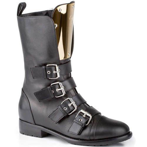 Ботинки Giuseppe Zanotti черного цвета с золотистой пластикой на язычке, фото