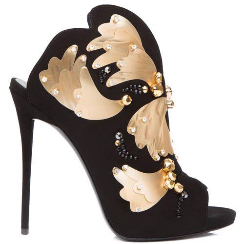 Босоножки Giuseppe Zanotti черного цвета замшевые с золотистым металлическим декором, фото