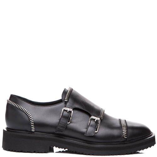 Туфли Giuseppe Zanotti черного цвета с декоративынми пряжками и молниями, фото