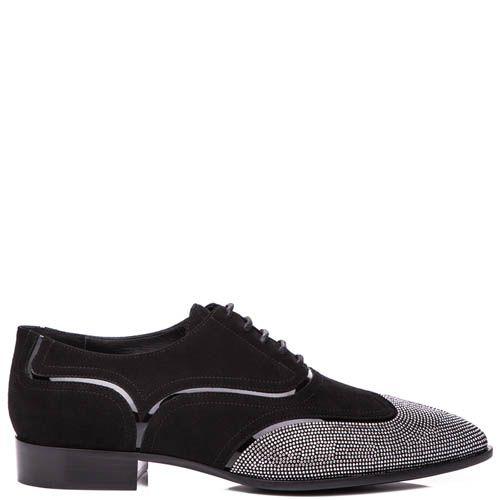 Туфли Giuseppe Zanotti черного цвета из нубука с серебристыми стразами на носке, фото