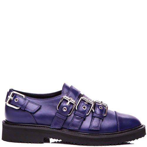 Туфли Giuseppe Zanotti синего цвета с декоративными пряжками, фото