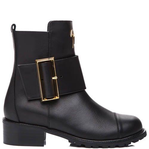 Ботинки Giuseppe Zanotti черного цвета с золотистой пряжкой, фото