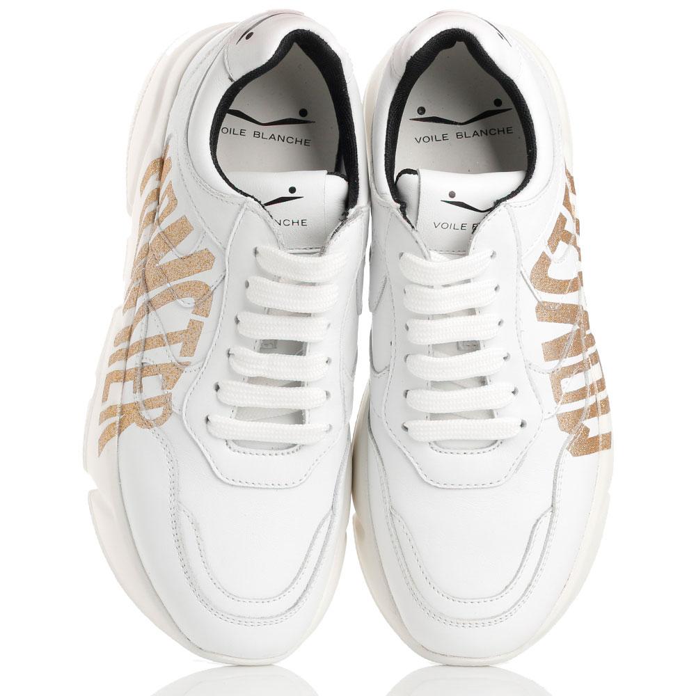 Белые кроссовки Voile Blanche Monster с золотистым принтом