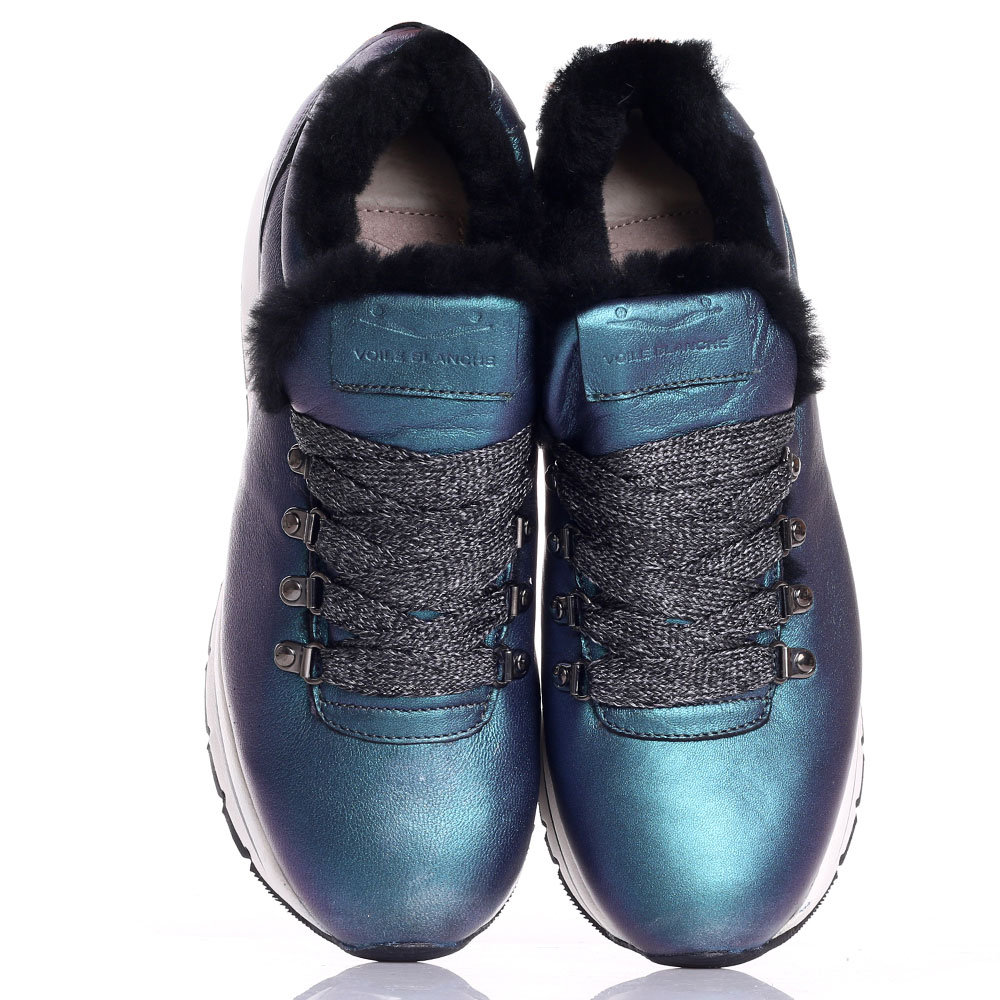 Синие кроссовки с перламутровым блеском Voile Blanche на платформе