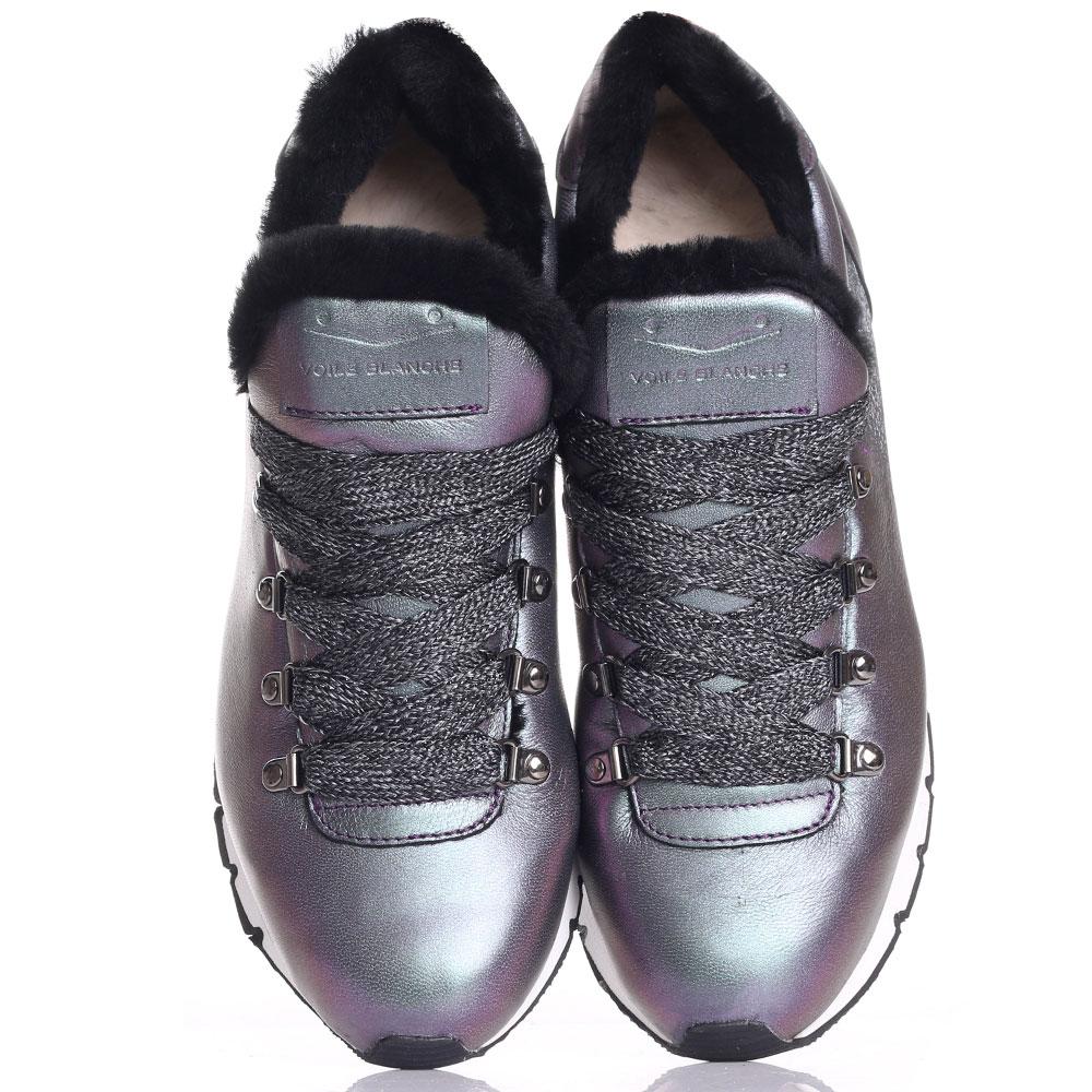 Перламутровые кроссовки  Voile Blanche на меху