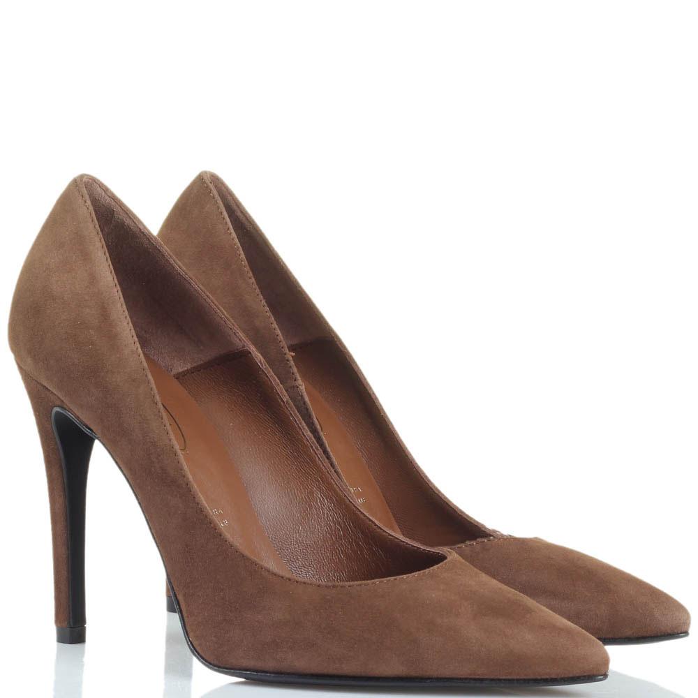 Замшевые туфли-лодочки Bianca Di коричневого цвета