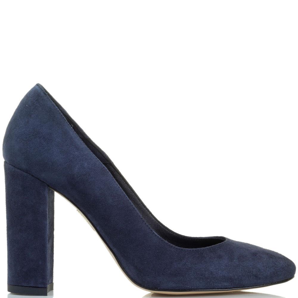 Замшевые туфли синего цвета Bianca Di на высоком устойчивом каблуке