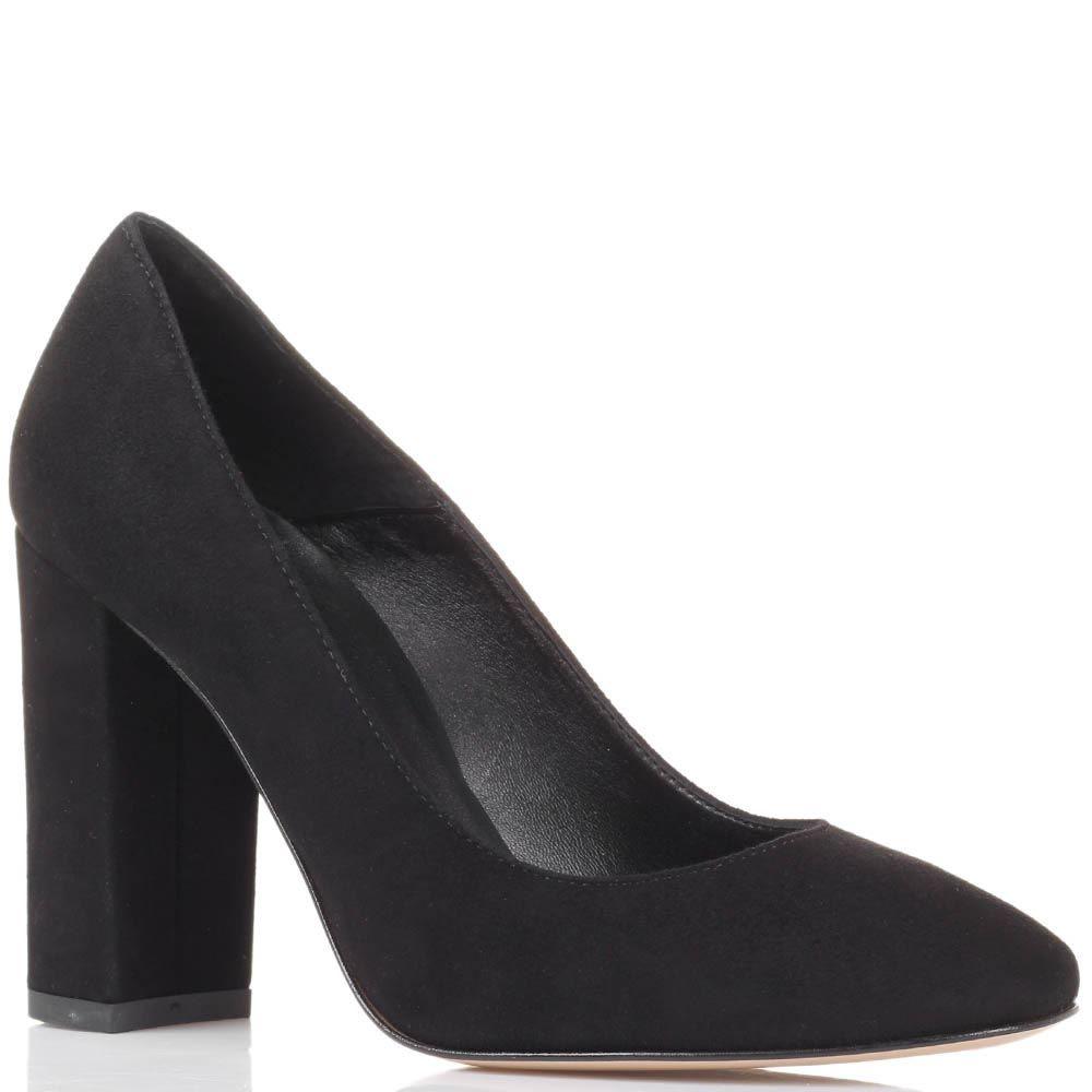 Туфли из замши черного цвета Bianca Di на устойчивом каблуке