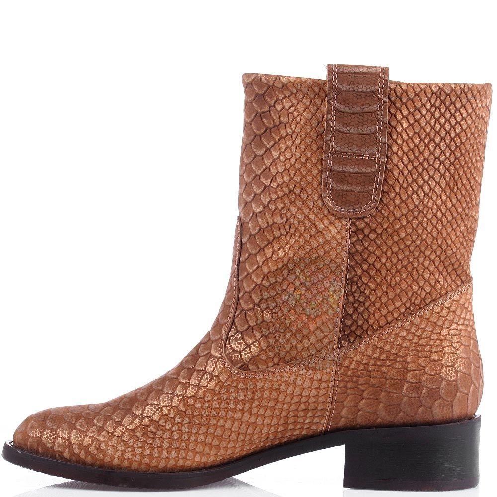 Женские ботинки Modus Vivendi из натуральной кожи коричневого цвета с имитацией кожи питона