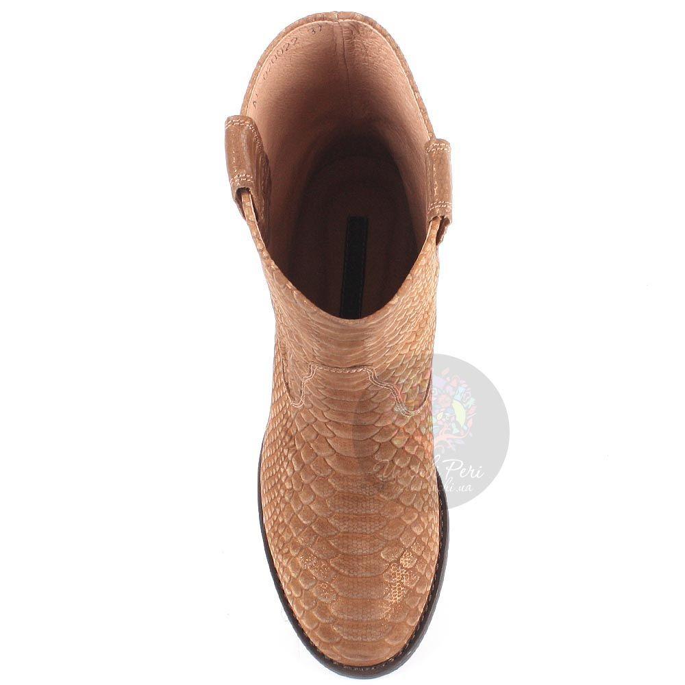 Женские ботинки Modus Vivendi из кожи коричневого цвета с имитацией кожи питона