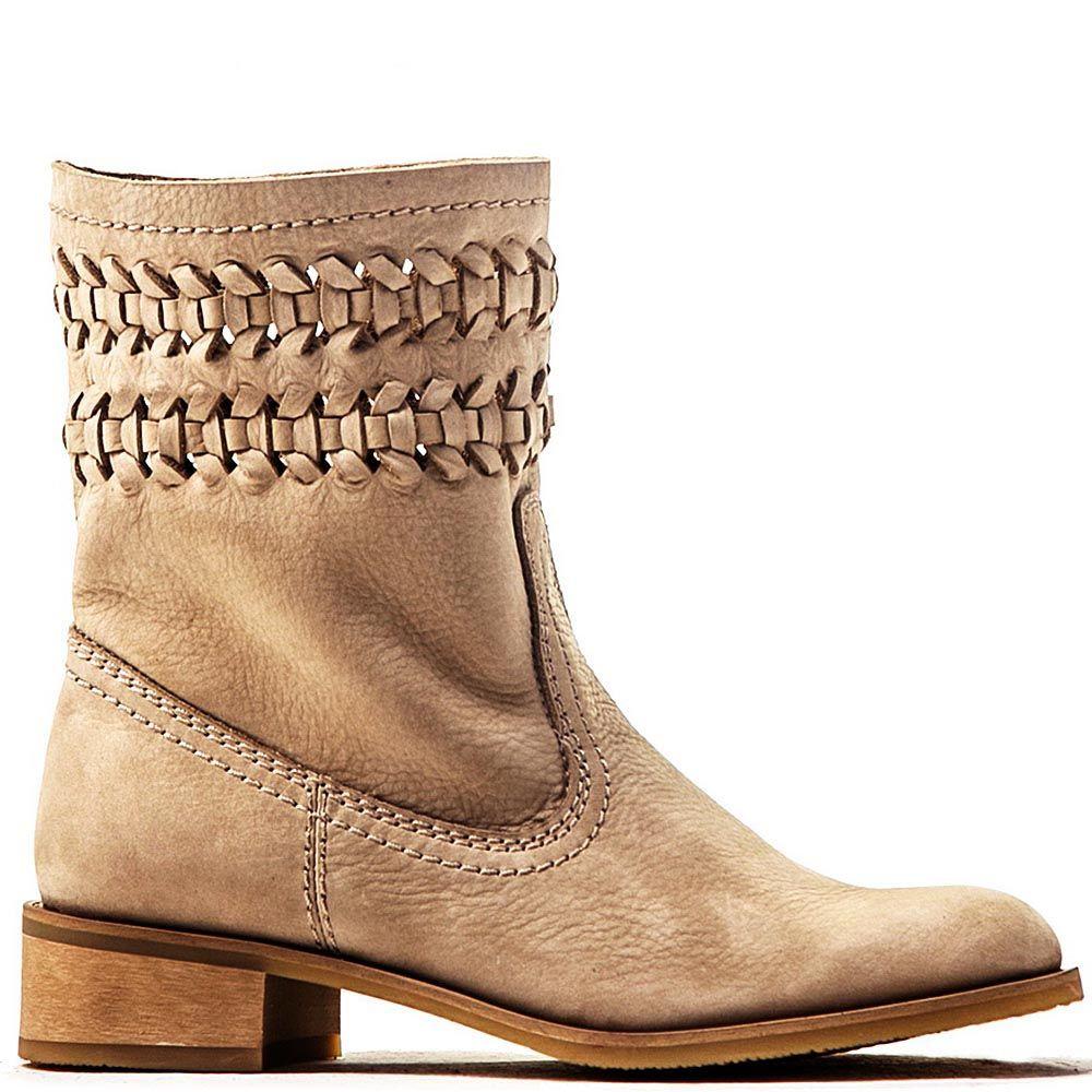 Женские ботинки Modus Vivendi из бежевого нубука с декоративным плетением
