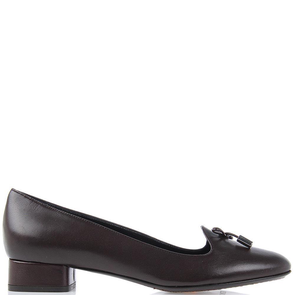 Женские туфли Moncler на небольшом каблуке коричневого цвета