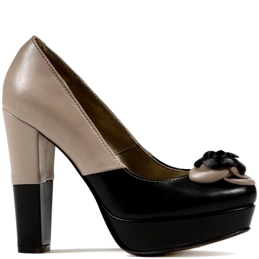Женские туфли Modus Vivendi на каблуке и скрытой платформе с геометрической комбинацией из бежевой и черной кожи