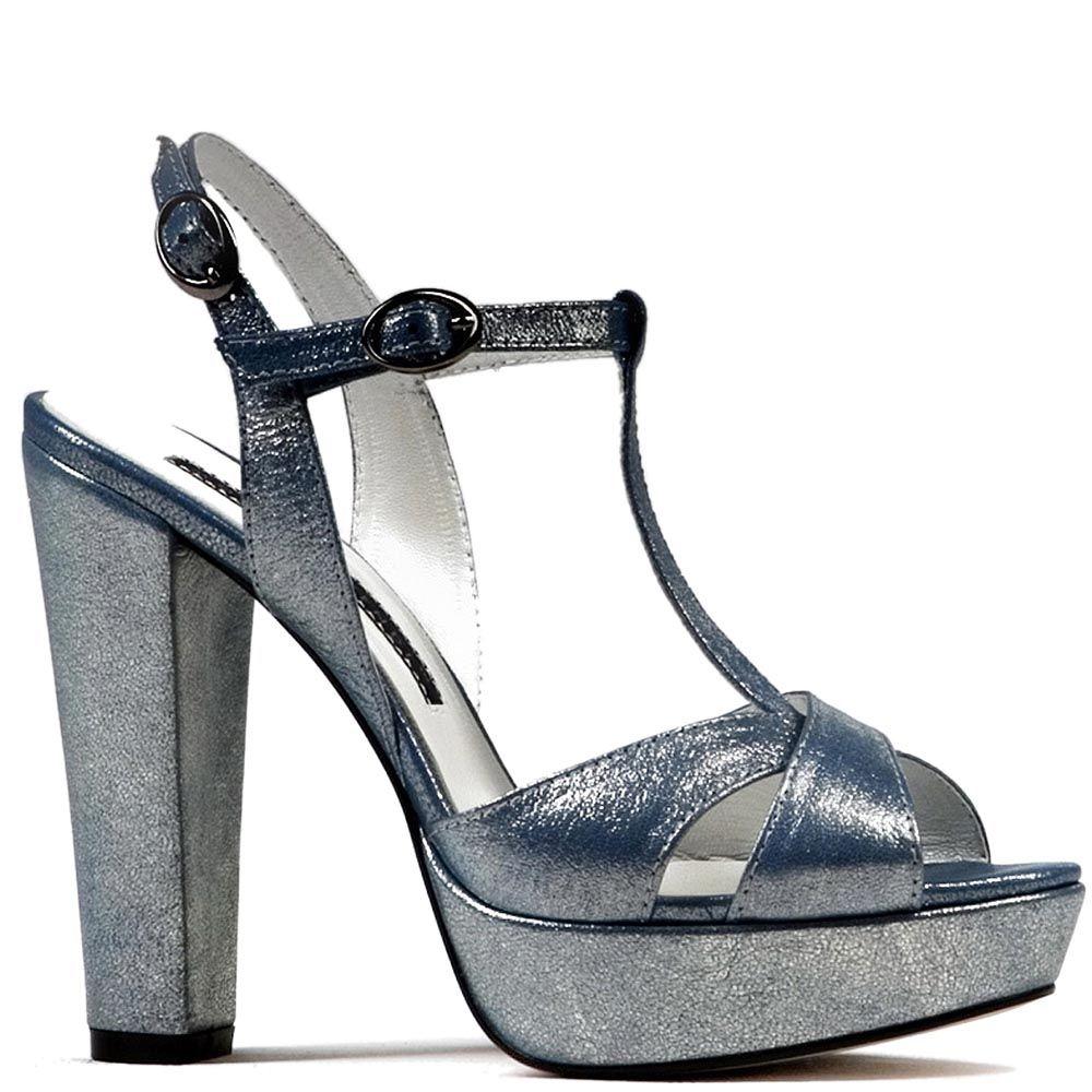 Босоножки Modus Vivendi на каблуке и скрытой платформе серо-голубого цвета