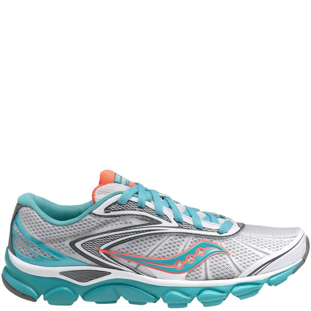 Женские беговые кроссовки Saucony Virrata 2 ультракомфортные бело-голубые со светло-серой и оранжевой отделкой