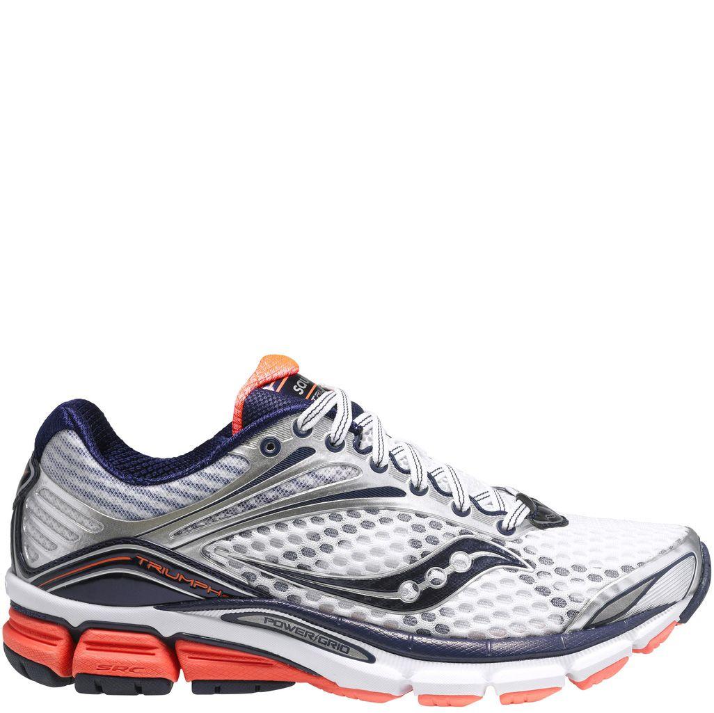 Женские беговые кроссовки Saucony Triumph 11 сине-белые с оранжевой отделкой