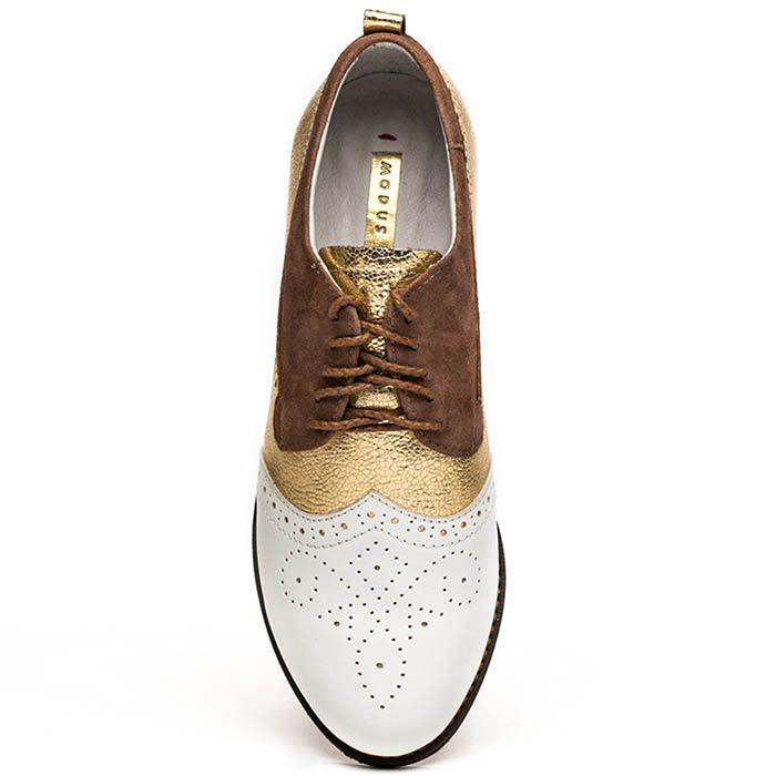 Женские оксфорды Modus Vivendi коричнево-золотые с белым перфорированным носочком