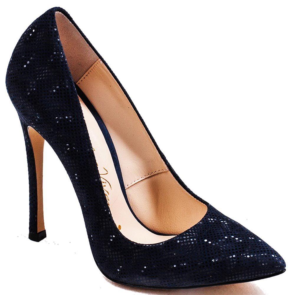 Туфли Modus Vivendi на высоком каблуке синего цвета из кожи с лазерной обработкой
