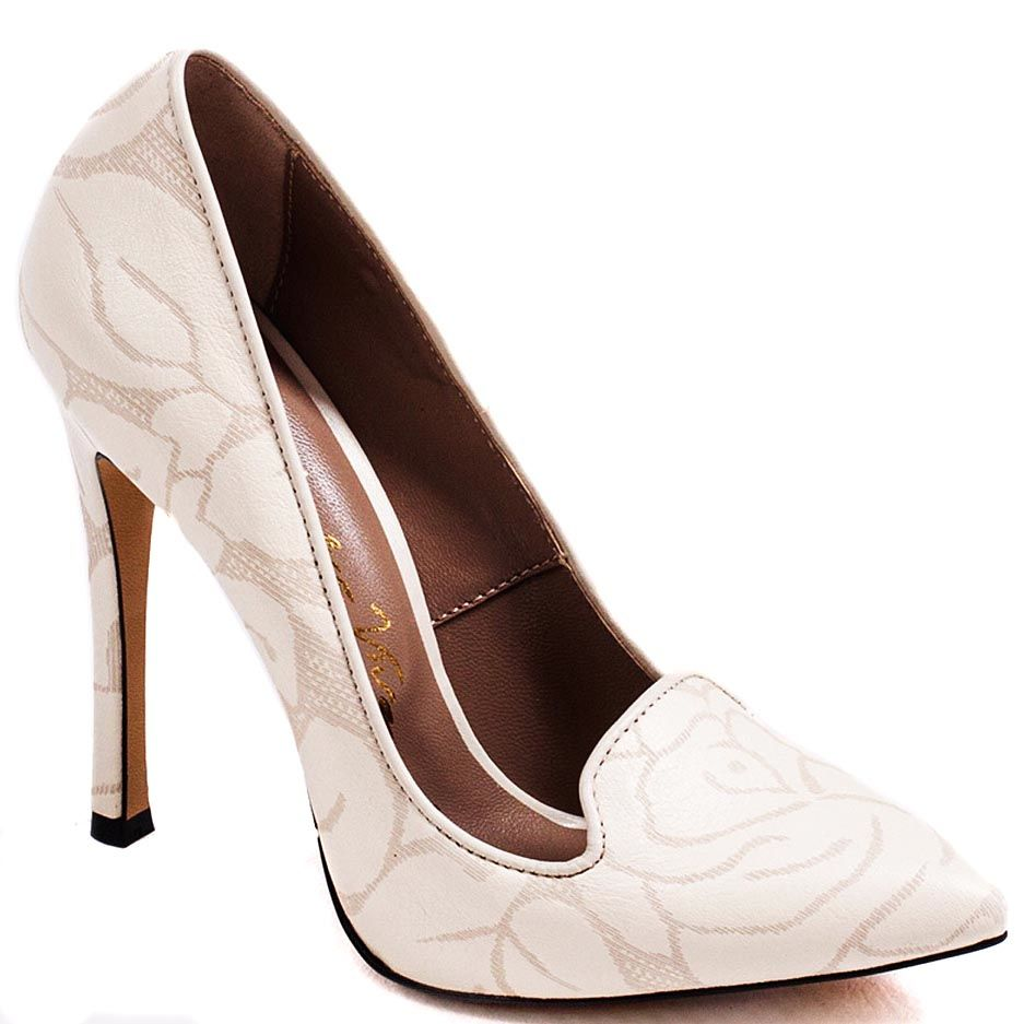 Туфли Modus Vivendi на высоком каблуке молочного цвета с набивным растительным рисунком