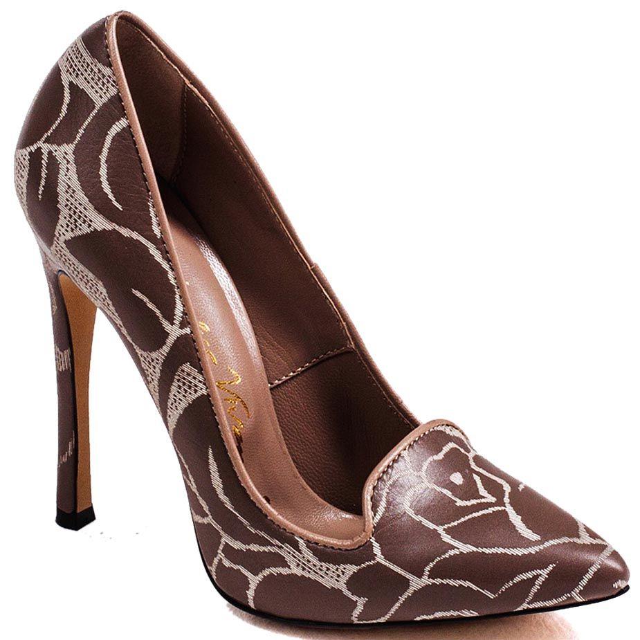 Женские туфли Modus Vivendi с зауженным носком из кожи коричневого цвета с серыми растительными узорами