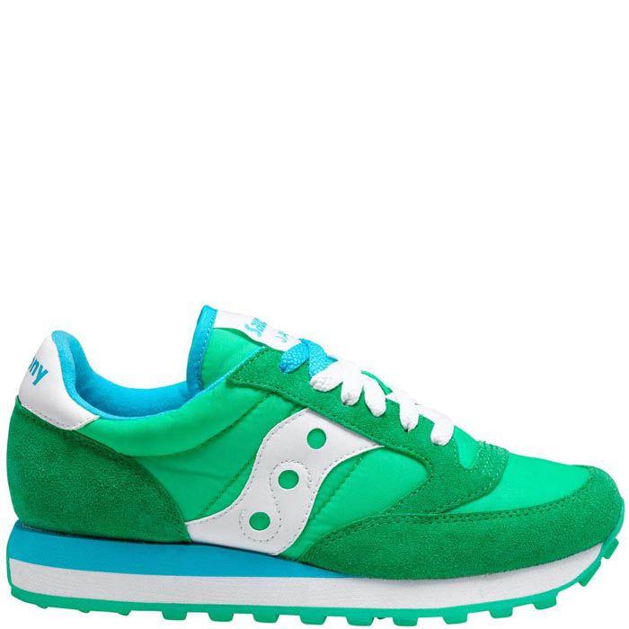 Женские кроссовки Saucony Jazz Original светло-зеленые с голубым и белым