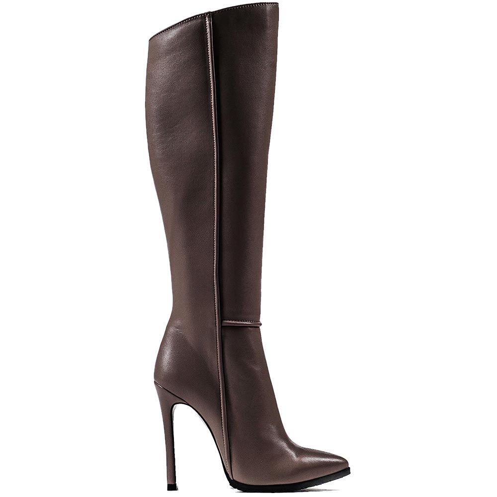 Высокие облегающие сапоги Modus Vivendi серо-бежевого цвета на шпильке с зауженным носком