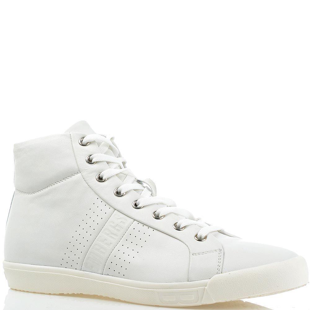Белые кеды Bikkembergs кожаные с мелкой перфорацией
